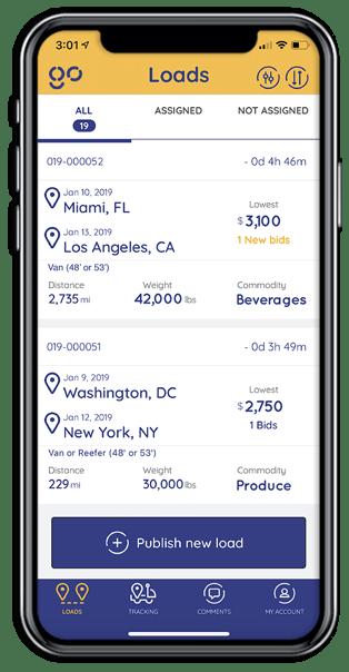 Shipper App screens