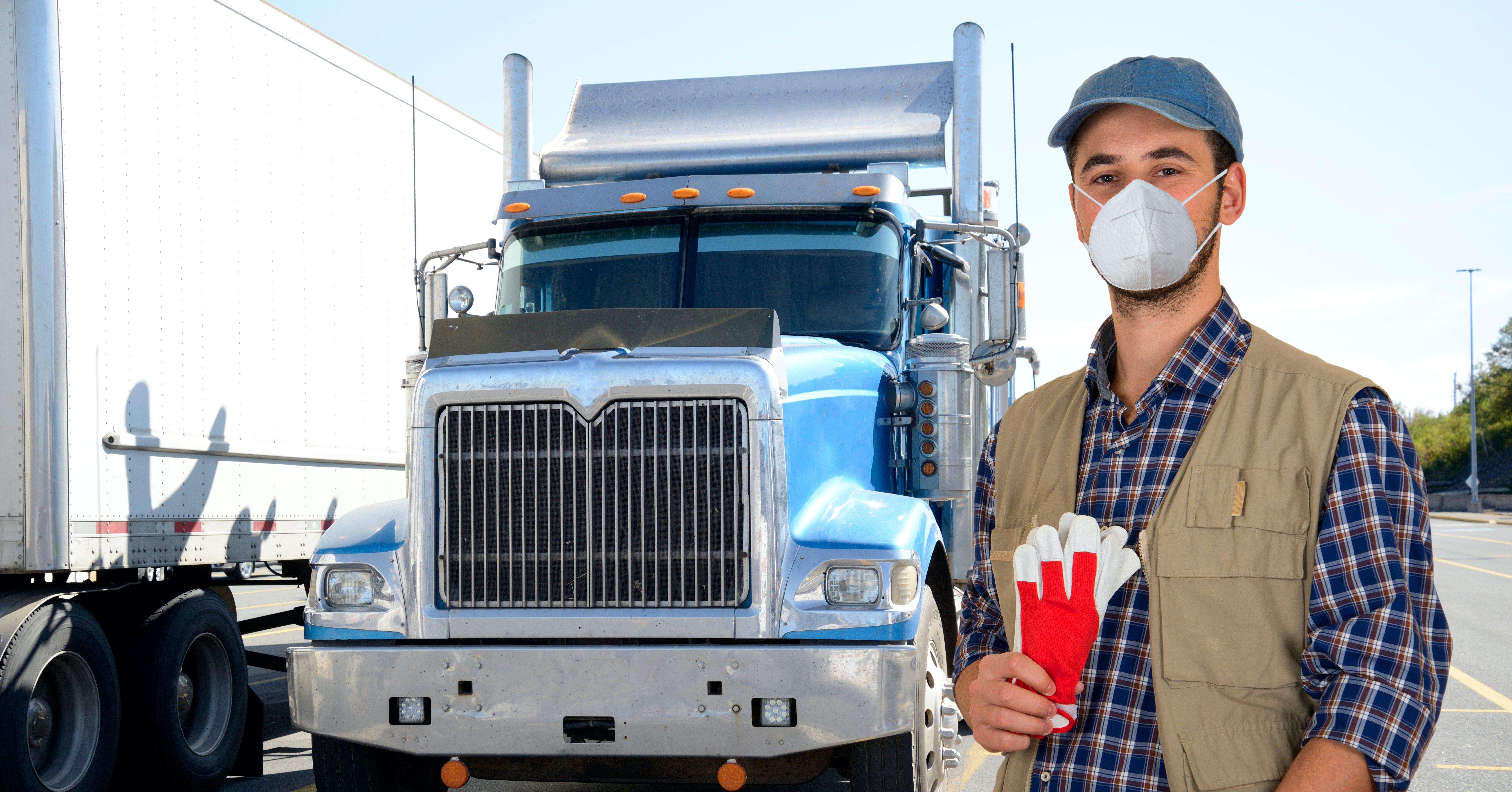 Trucker Driver wearing PPE