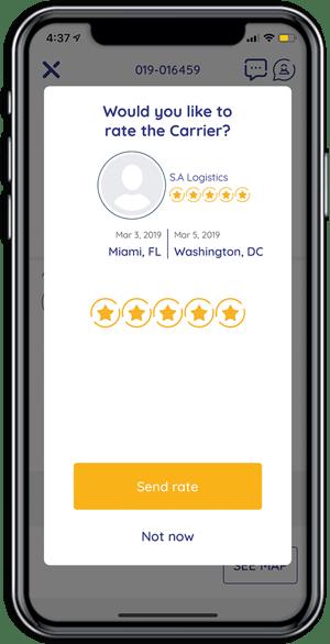 Cargobot Shipper App - Carrier rating