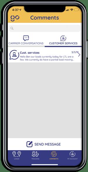 Cargobot Shipper App - carrier communication